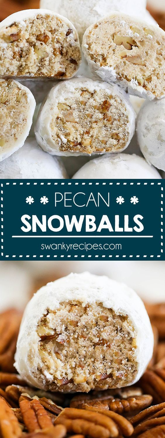 Pecan Snowballs - This 7-ingredient easy pecan snowball cookie recipe. A holiday classic that deserves a spot on your holiday cookie tray! A new improved version! Buttery vanilla shortbread cookies with ground pecans the whole family will love! pecan snowballs I mexican wedding cookies I russian tea cakes I pecan balls I christmas cookies I snowball  christmascookies  holidaybaking