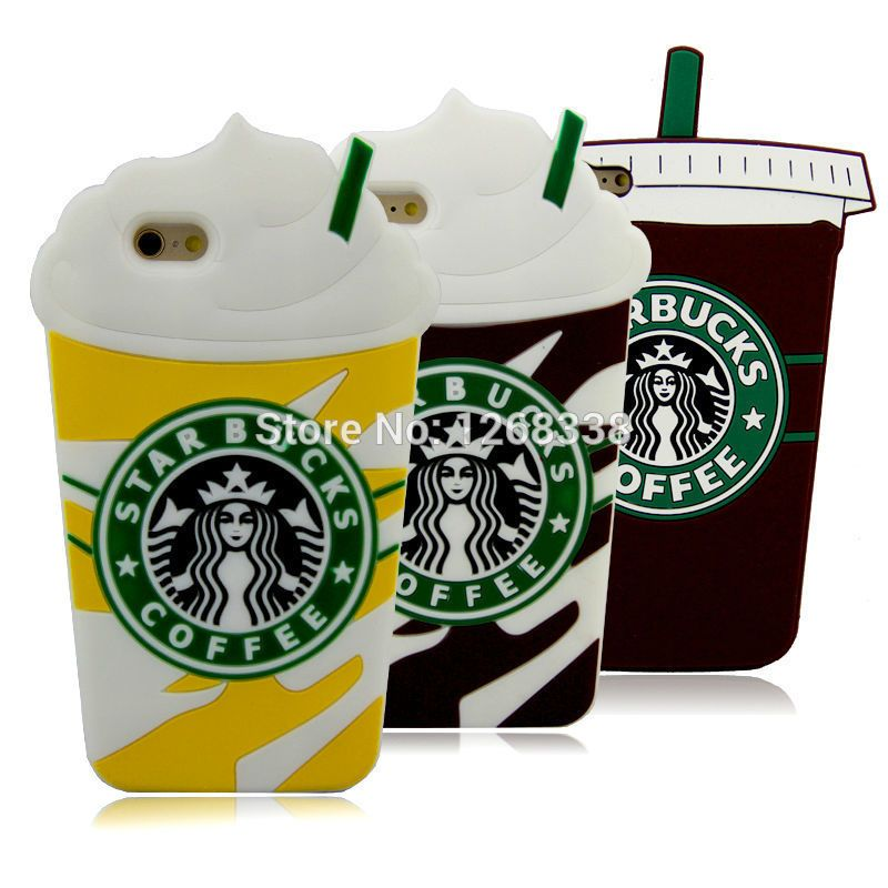 3d cartoon silicon starbucks coffee cup case cover for
