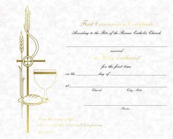 Barton Cotton Style Xb103 Parchment First Communion Certificates Gold Foil Size 8 X 10 50 Per Box