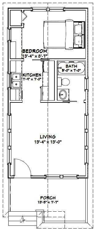 Tiny Home Designs: 14x30 Tiny House -- #14X30H1B -- 419 Sq Ft