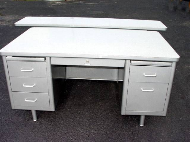 Vintage Steelcase Desk White With Silver