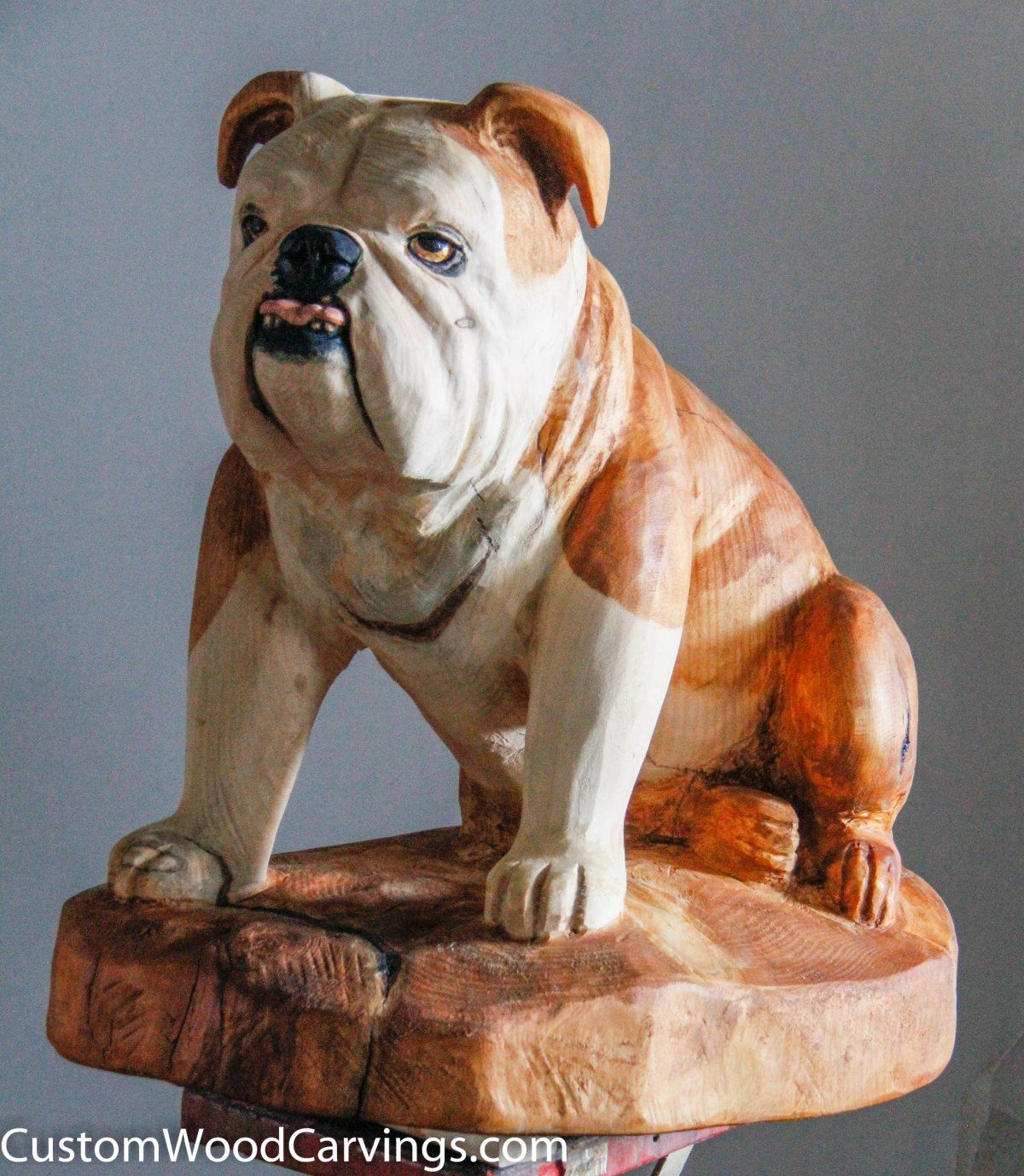 English Bulldog Carving Bulldog Dog Sculpture English Dogs