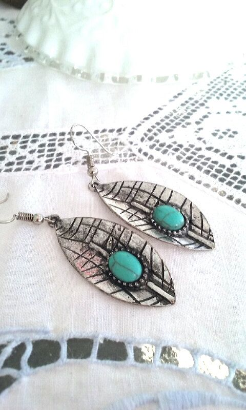 Large earrings silver leaf with green by TheLoveOfEarrings on Etsy