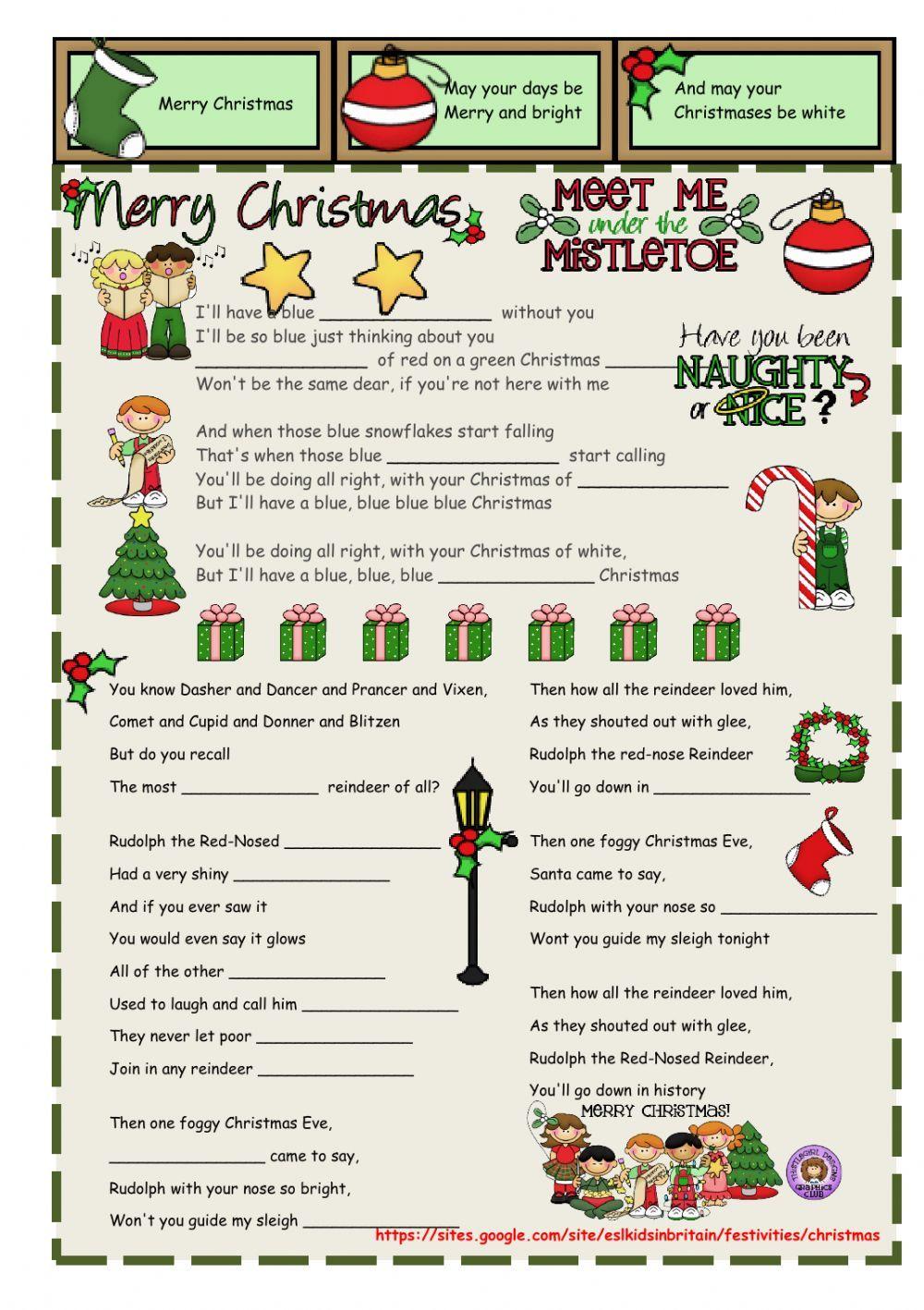 Christmas Carols - Interactive worksheet | School | Pinterest ...