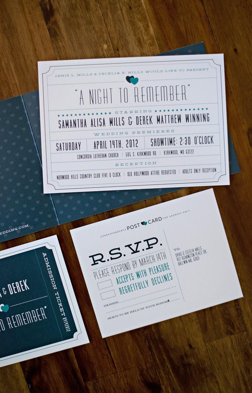 Theater Ticket Wedding Invitation. $3.00, via Etsy. | dream wedding ...