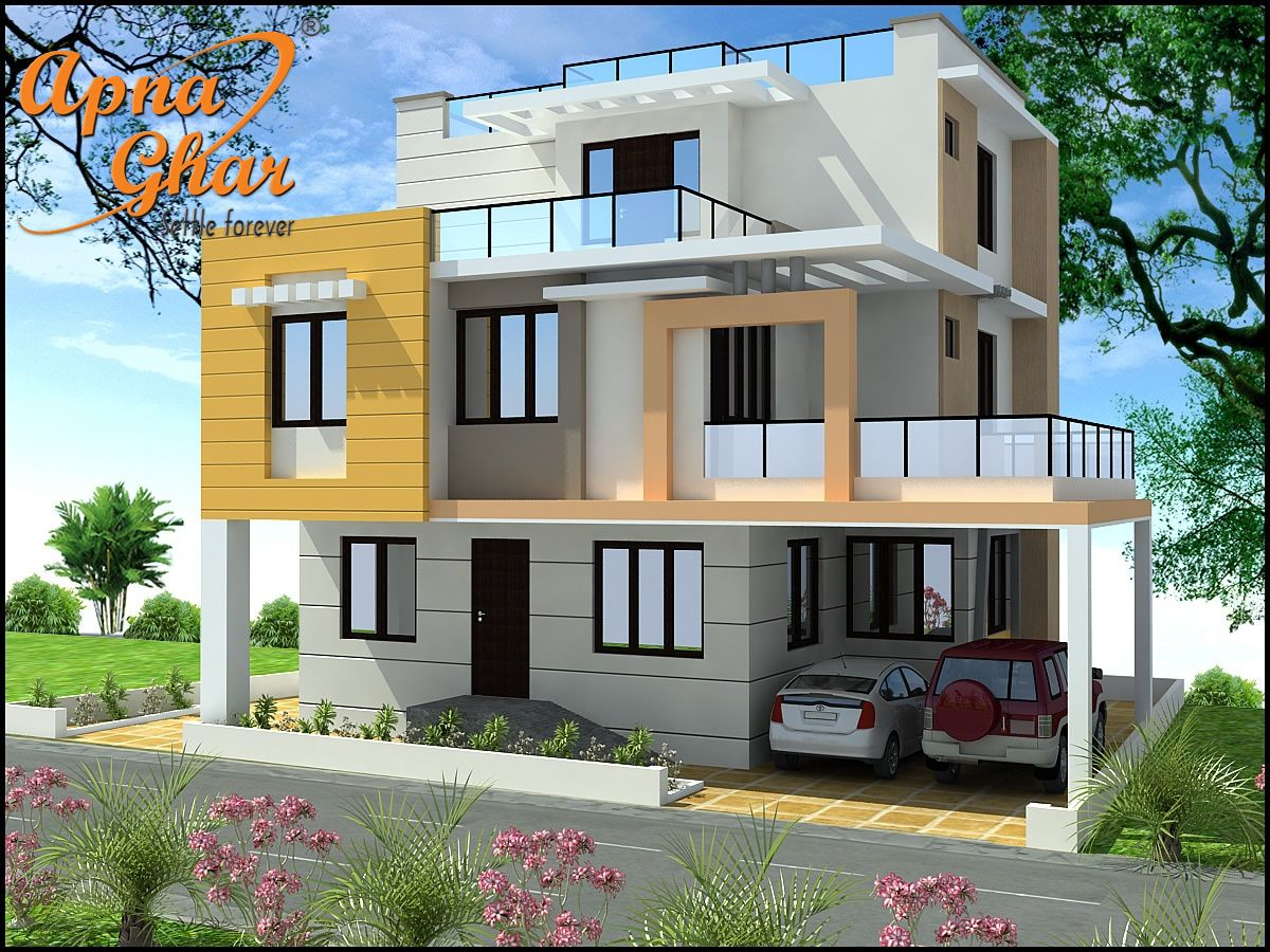 Beautiful triplex house design along with commercial floor for Triplex designs