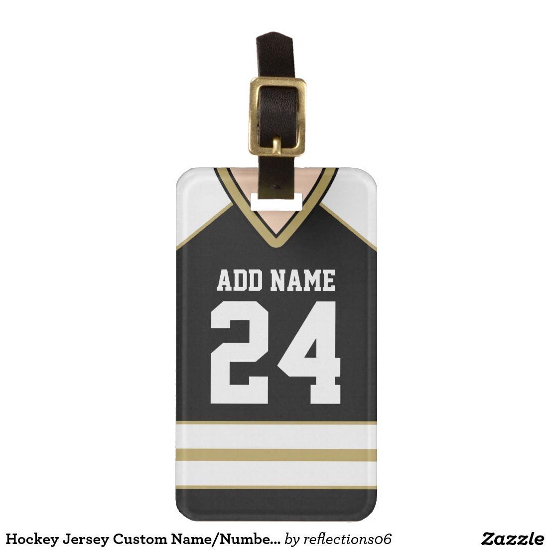 Hockey Jersey Custom Name Number Bag Tag Zazzle Com Hockey Jersey Hockey Jersey