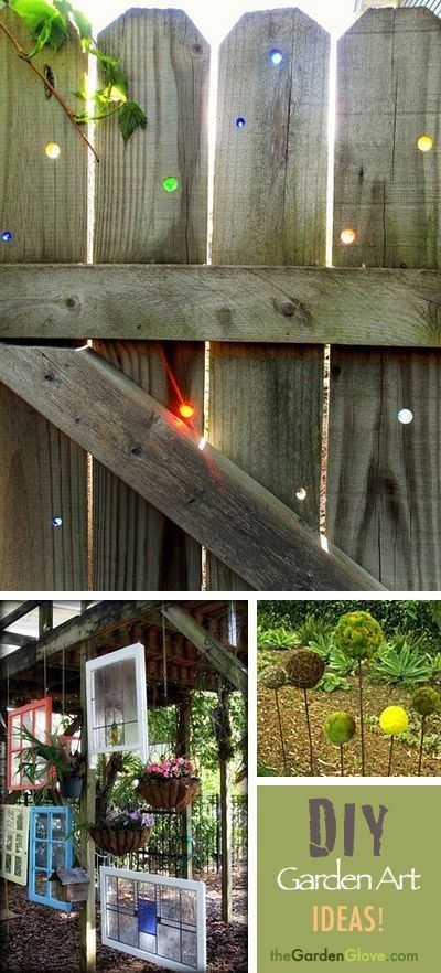 More Great Diy Garden Art Ideas Love The Marbles In The Fence