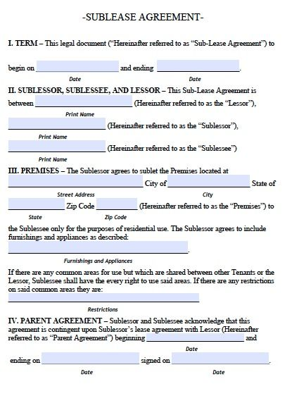 Sublease Agreement Contract Free Printable Documents Roommate