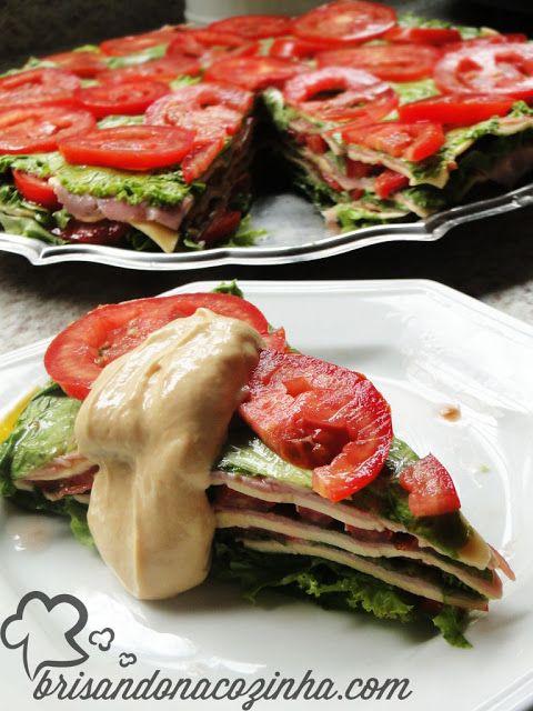 Brisando na Cozinha: Torta ou lasanha de alface (sanduíche sem pão)