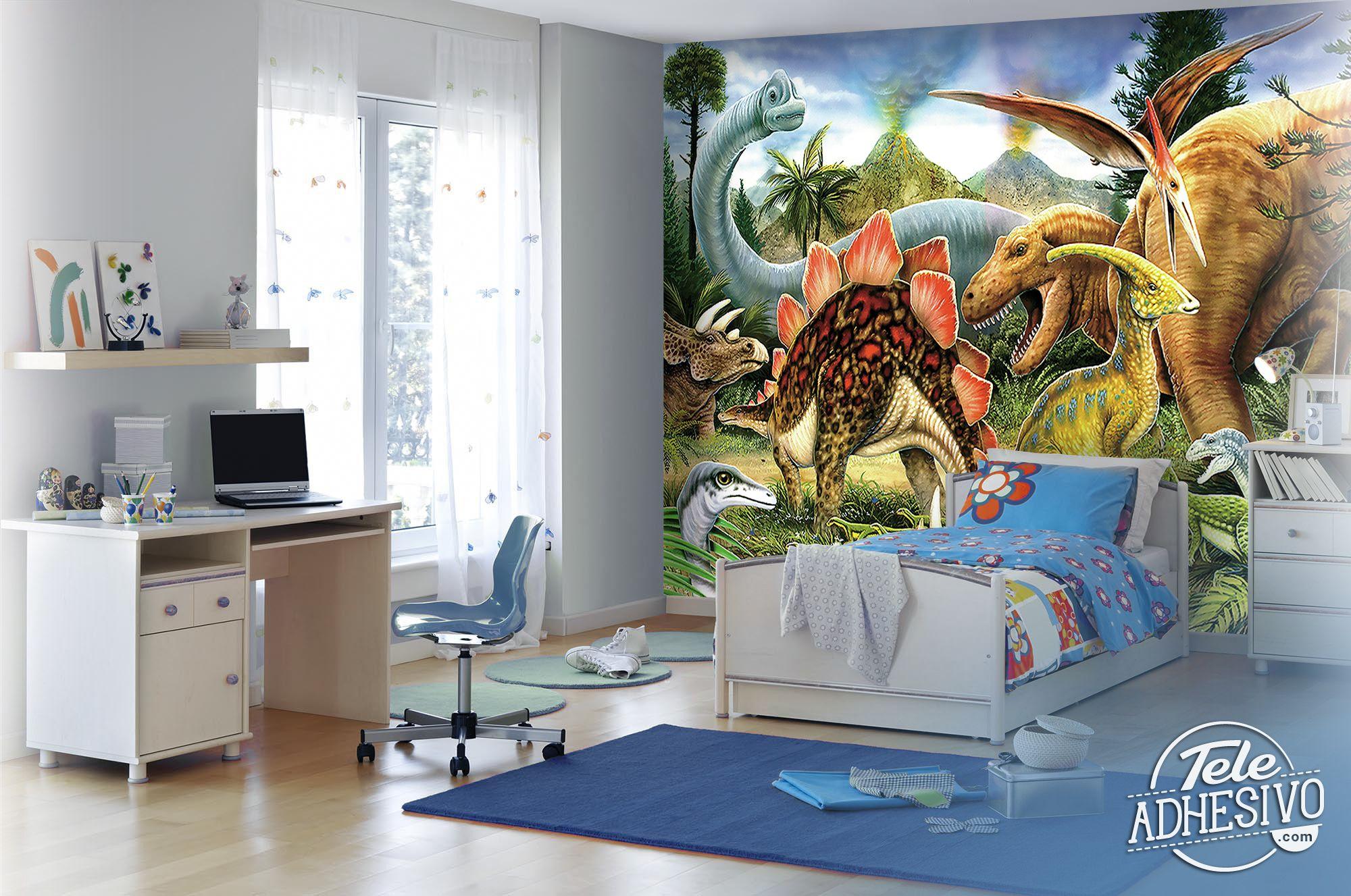 Fotomurales: Dinosaurios para decorar una pared de habitación ...