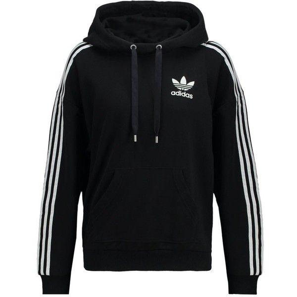 adidas Originals Hoodie ($68) ❤ liked on Polyvore featuring tops, hoodies, black, hooded sweatshirt, sweatshirt hoodies, tall tops, adidas originals hoodie and pattern hoodie