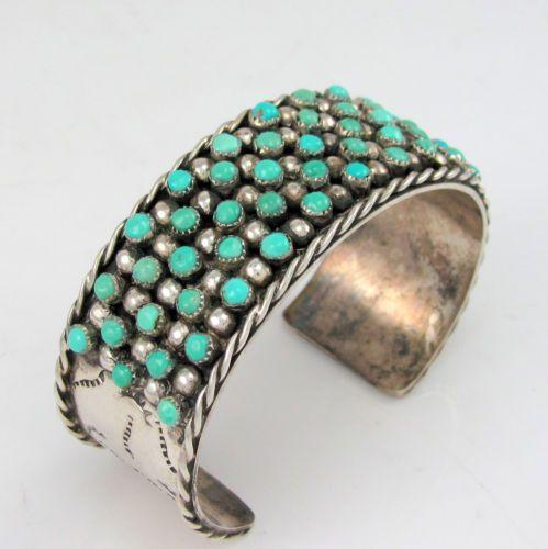 native american snake eye turquoise cuff bracelet | Vtg '75 Navajo C ARVISO Sterling Silver Snake Eye Turquoise Row Cuff ...