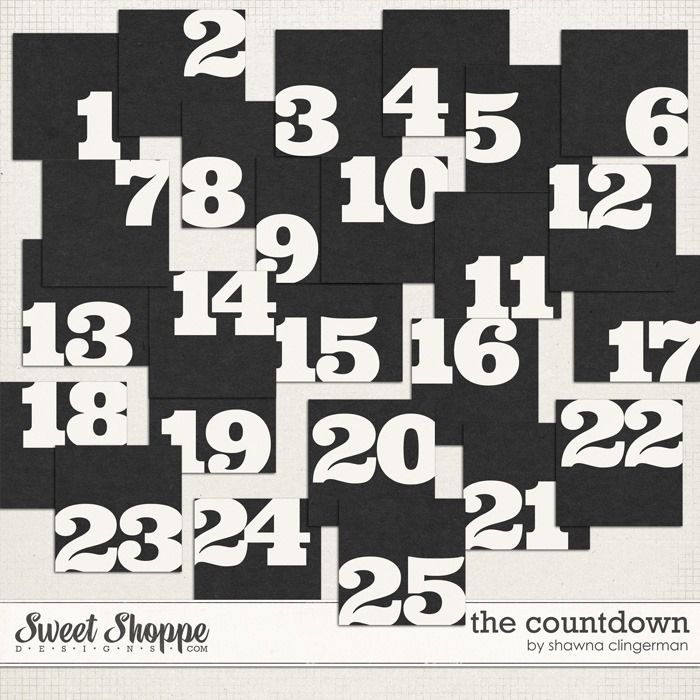 FREE set of blocked numbers that count down to 25 by Shawna Clingerman