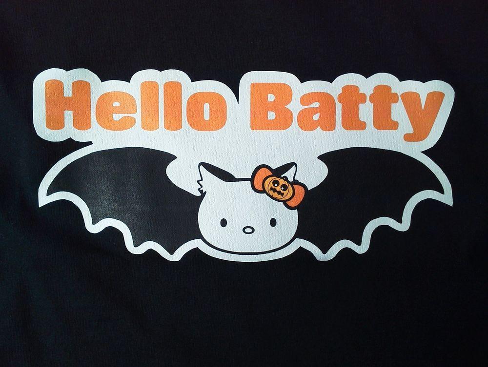 fa9811cba Halloween costume alternative office Party Gothic Ladies Black Large T-shirt  HELLO BATTY T-