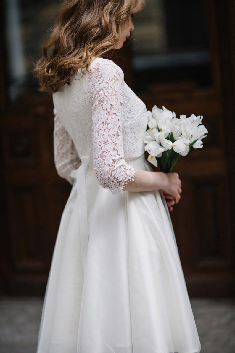 Ready To Ship Wedding Dress Short Wedding Dress Simple Etsy Simple Wedding Dress Short Civil Wedding Dresses Wedding Dress Sample Sale [ 1191 x 794 Pixel ]