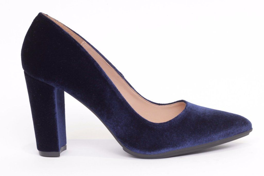 super popular 14037 7d41f Zapato salón mujer tacón cómodo color azul marino terciopelo ...