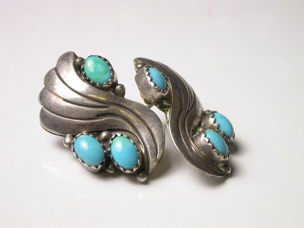 Stunninng Green Turquoise Silver Plated 7 Grams Earring 1.75 Long Handmade Jewellry