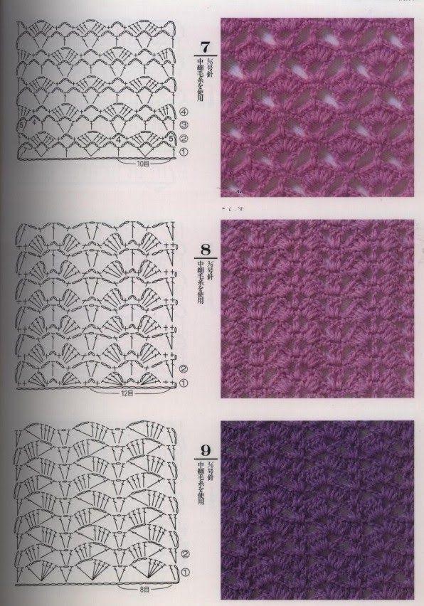 простые ажурные схемы вязания крючком