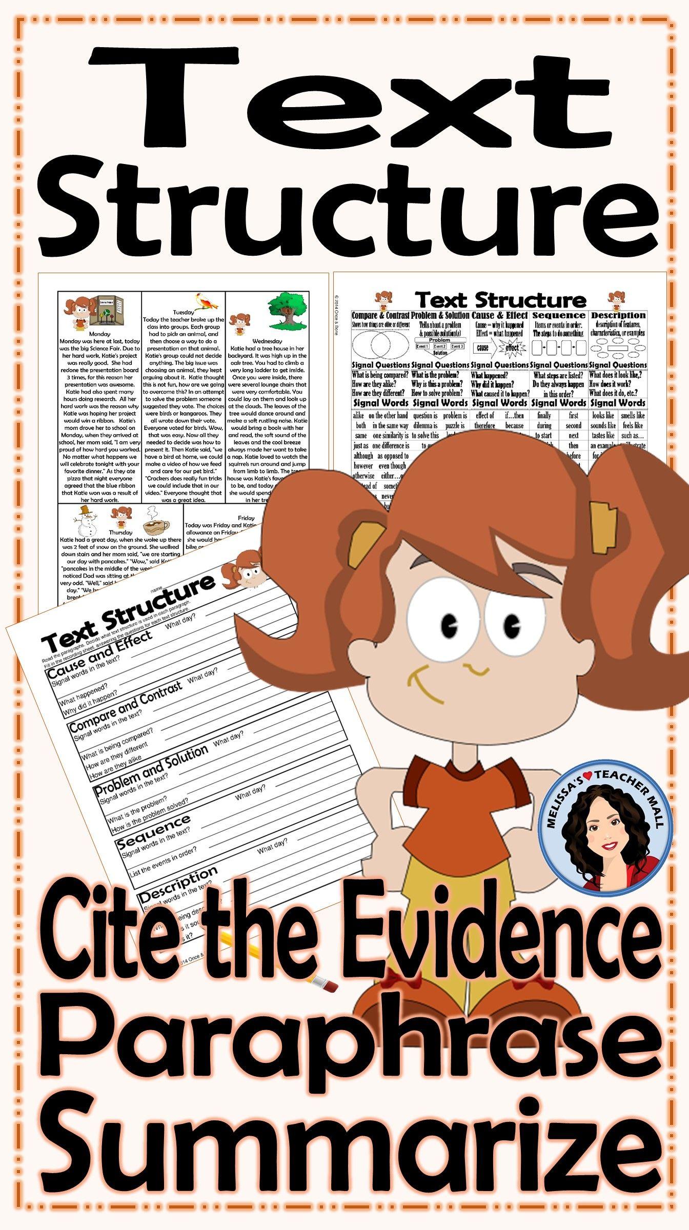 Text Structure Summarize Paraphrase Cite The Evidence Activity Katie S Week