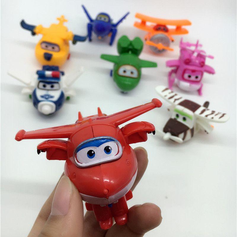 8 estilos Super Alas Mini Aviones Avión Deformación Robot Transformación Juguetes figuras de acción de juguete Figuras de Acción Súper Alas