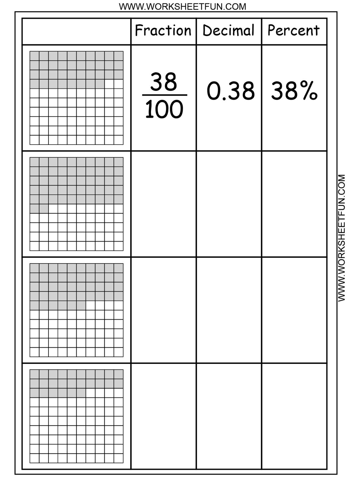 Fractions Decimals Percents Loads Of Free Math Worksheets