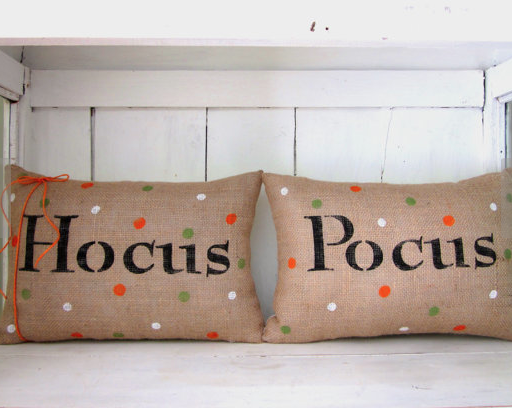 'hocus, pocus' halloween burlap pillows
