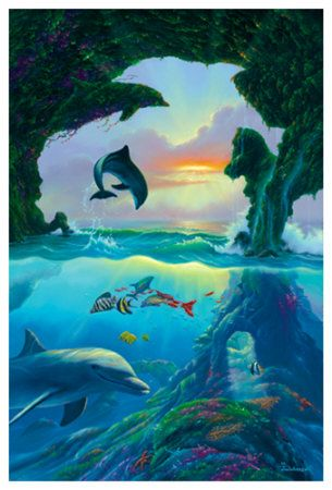 In the illusion below, calculate the number of Dolphins you can see.Some people just miss the dolphins which are above the water.