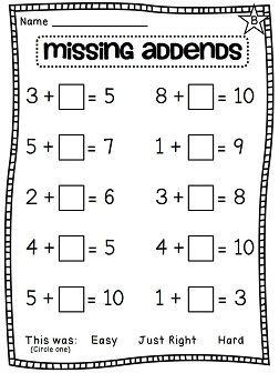 First Grade Math Unit 7: Missing Addends, Fact Families ...
