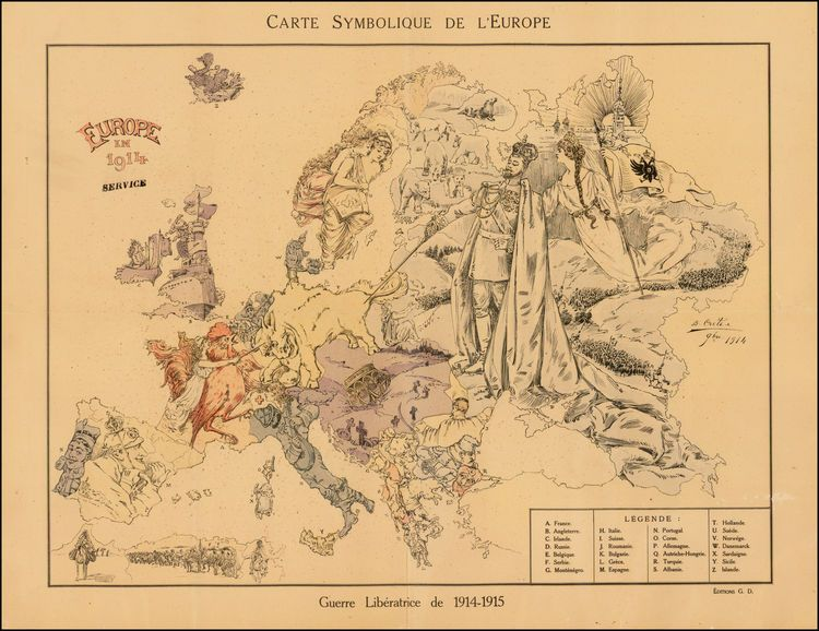 Carte Symbolique De L'Europe   Barry Lawrence Ruderman Antique