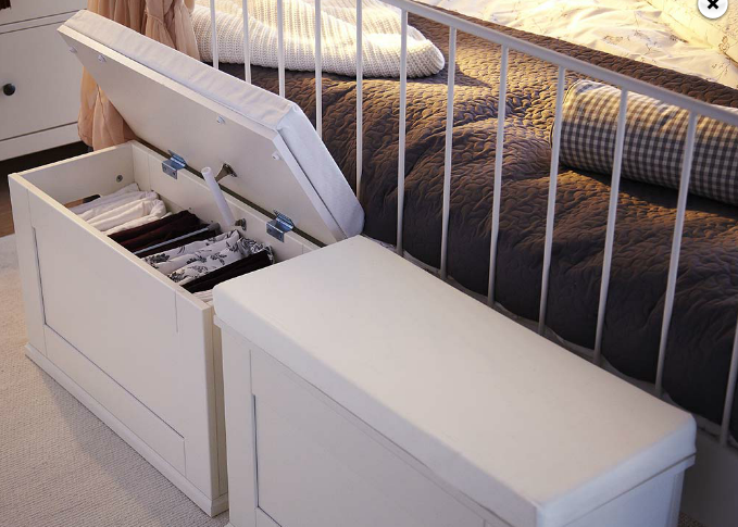 ALVE narrow footstool with storage from IKEA. Ikea