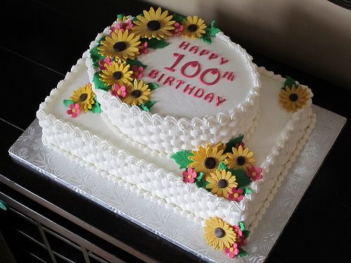 Sunflower 100th Birthday Cake With Images Birthday Sheet Cakes