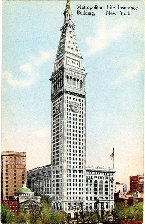 Metropolitan Life Insurance Building New York By Postcardboutique