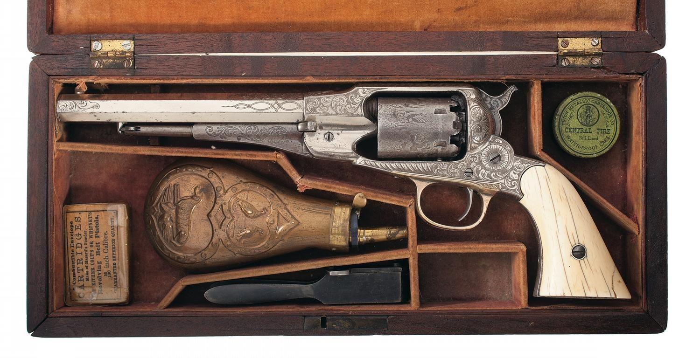 Rare Cased Factory Nimschke Engraved Remington New Model Navy