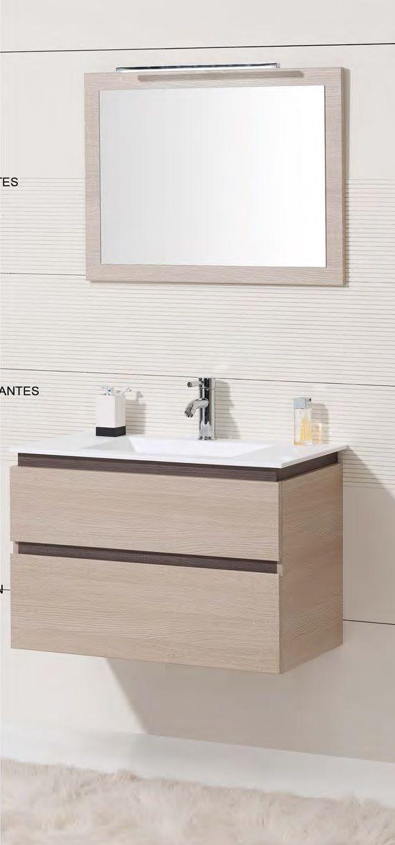 Mueble baño suspendido 100 cm suspendido. Muebles de baño fabricado por iBX con cajones con freno. Disponible en melamina o lacados. Espejo de baño led opcional