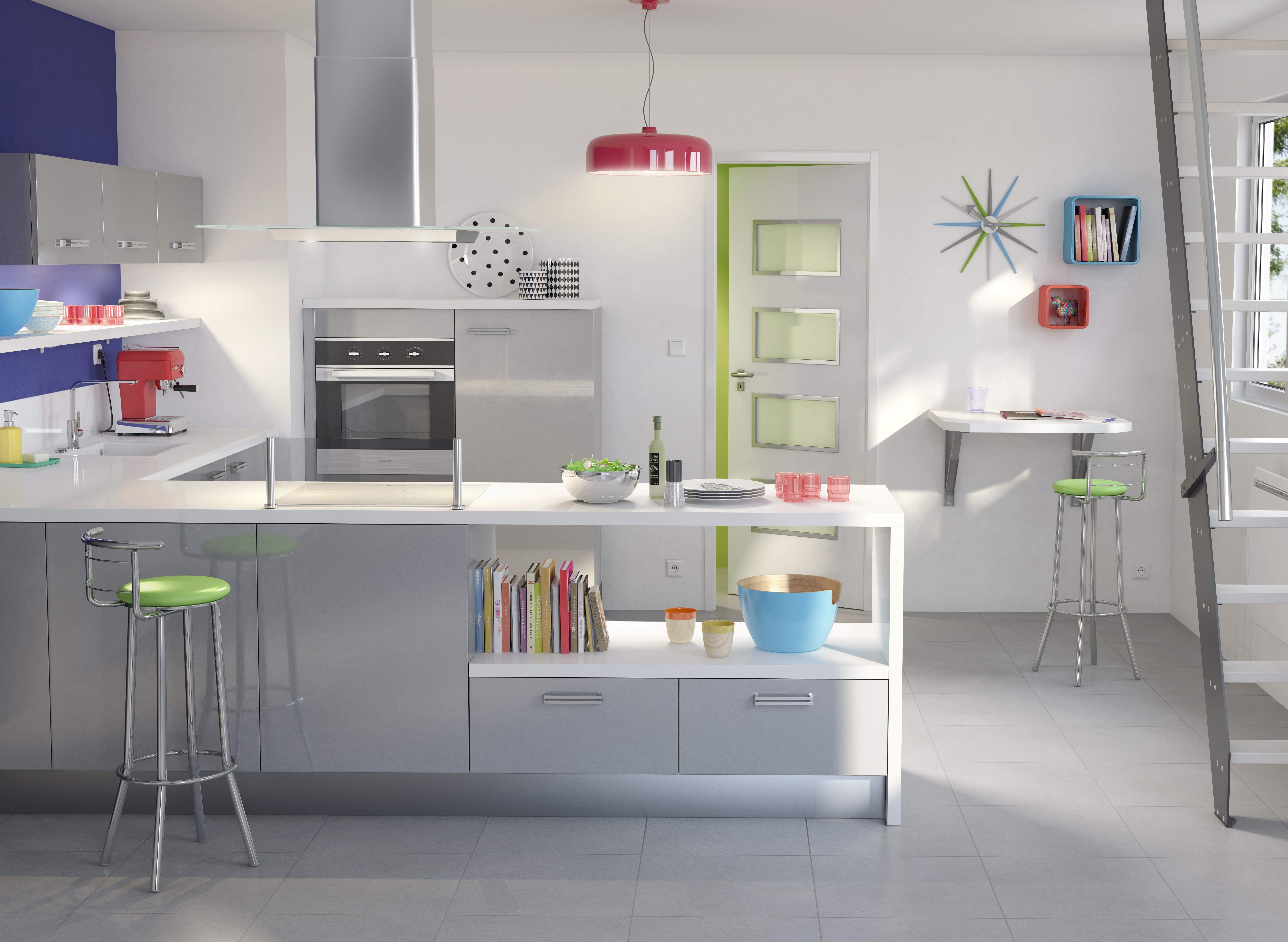 Cuisine twist gris m tallis cuisine semi ouverte cuisine ouverte et id e - Passe plat cuisine ikea ...