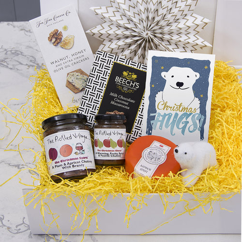 CHRISTMAS HUGS   artisan hamper — The Pickled Shop - Big warm bear hugs for Christmas are not the only thing to make you warm and fuzzy when opening this box of artisan goodies.  #christmas #christmasgifts #christmasgiftsforher #christmasgiftsforhim #christmaslove #xmas #xmasgifts #christmaspresents #christmashamper #hamper #giftbox #pickles #preserves #cheese #cheeselover #cheeseandbiscuits #cheeseboard #giftsforher #giftsforhim #gifts #thoughtfulgifts #christmasjoy