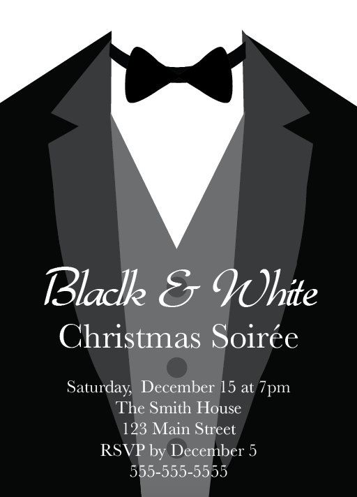 Formal Christmas Party Ideas Part - 35: Black And White Party, Tuxedo, Formal, Black Tie, Christmas Party  Invitation,