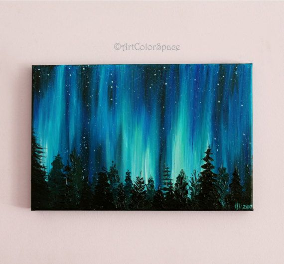 Small Galaxy Painting Valentines Day Night Sky Northern Lights Landscape Aurora Borealis Oil On Canvas Home Decor