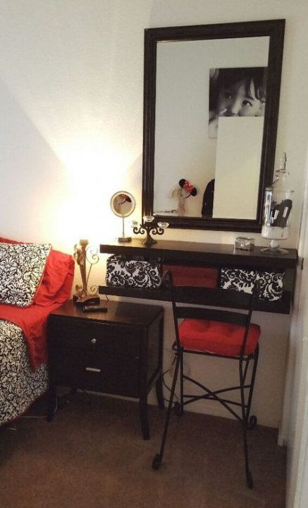53 Ideas Makeup Vanity Small Space Floating Shelves # ...