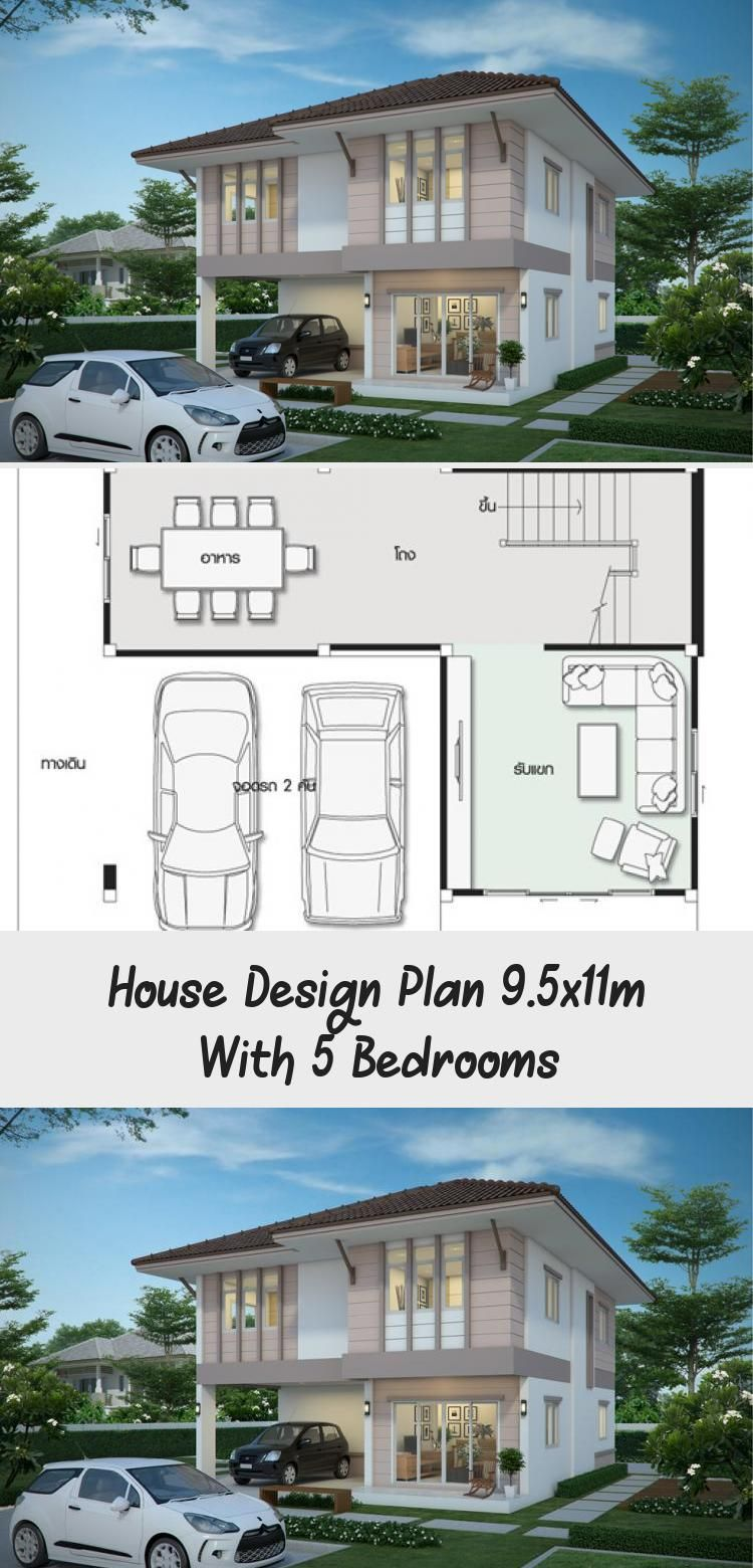 House Design Plan 9 5x11m With 5 Bedrooms Ruby S Blog In 2020 Home Design Plans House Design Modern House Plans