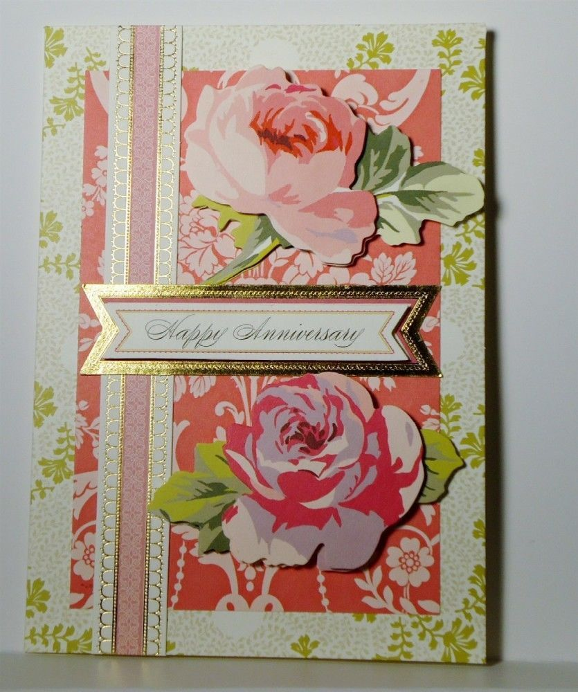 Happy Anniversary Greeting Card Handmade Flowers Vintage Anna