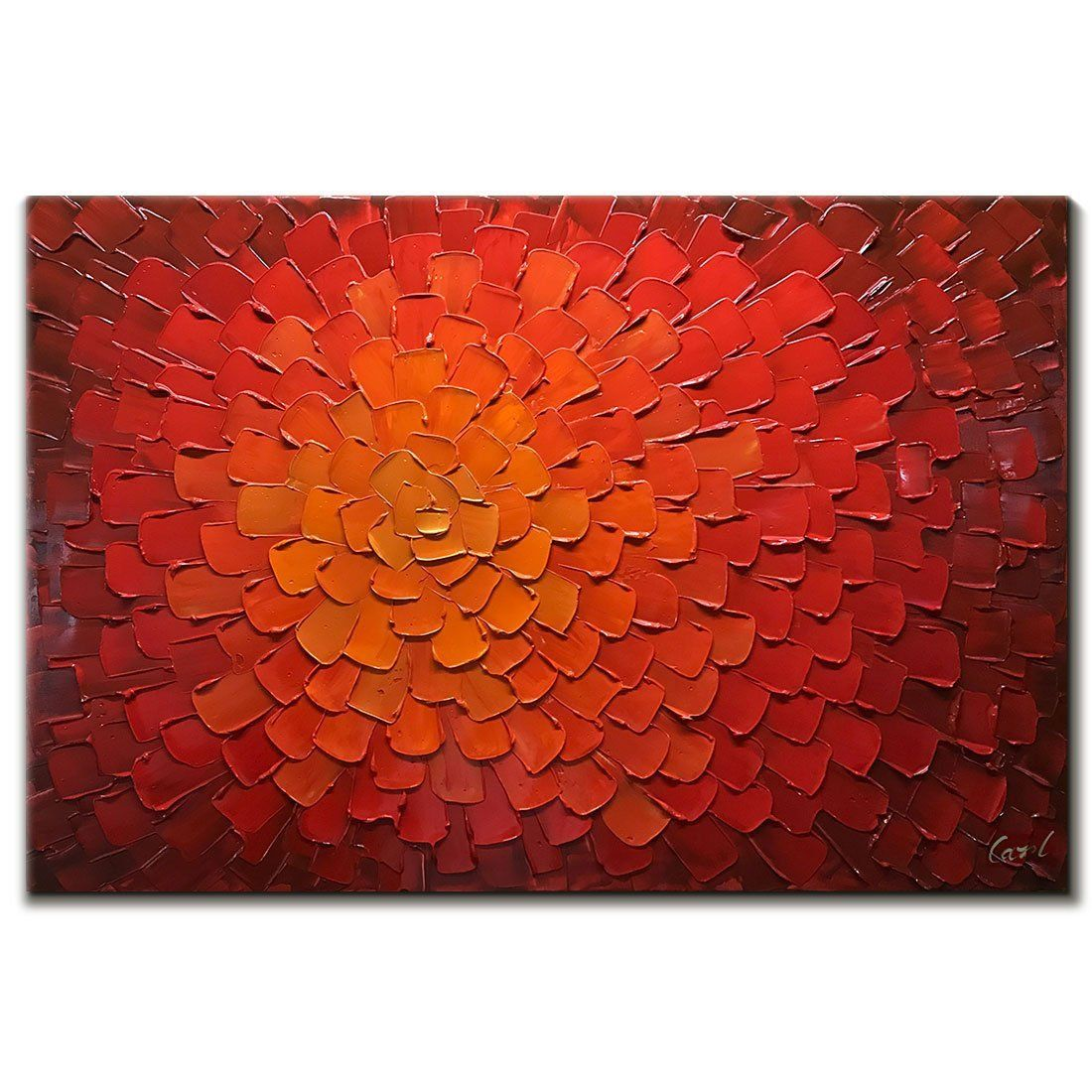 V Inspire Paintings 24x36 Inch Oil Hand Paintings Modern Framed Art 3d Hand Painted Abstract Artwork Red Flowers Pictures On Canvas Wall Art Ready To Hang For Living Room Bedroom Home Decorations Paintings Home