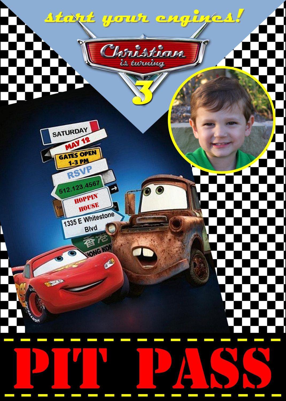 Custom Personalized Pixar Cars Birthday Invitation Pit Pass World ...