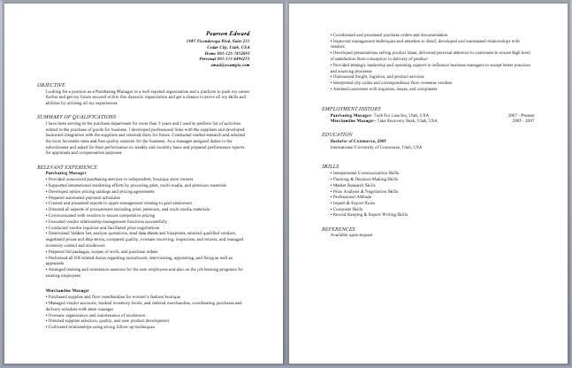Purchase Manager Resume Sample Resume Template Teacher Resume Examples Manager Resume Sample Resume Templates