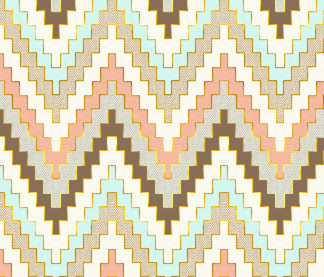 Telluride in Aqua, Coral and Gold Dust fabric by sparrowsong on Spoonflower - custom fabric