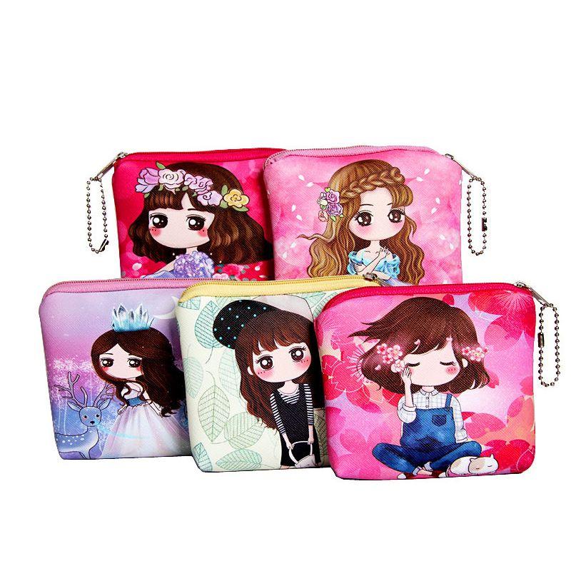 Women Girl Cartoon Small Coin Purse Bag Card Key Holder Pouch Zip Wallet Hangbag