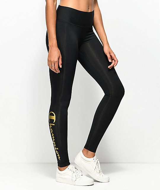 63df840755b Champion Black & Gold Script Leggings in 2019 | STYLE | Black gold ...