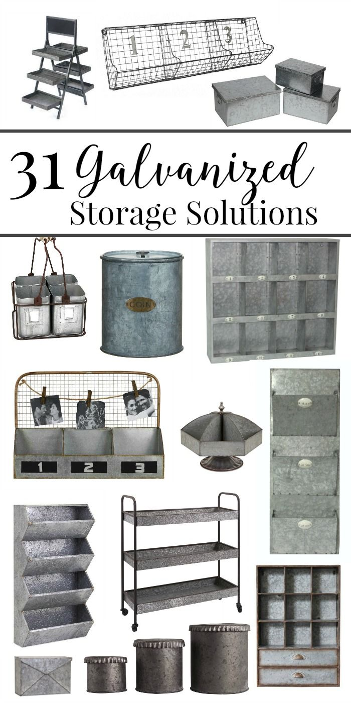 31 Galvanized Metal Storage Solutions To Organize Your Life Galvanized Decor Rustic House Home Decor Accessories