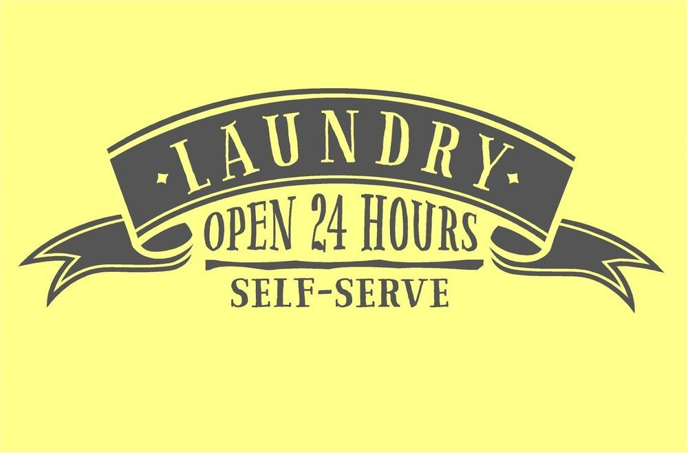 Laundry 24 HR self serve Vinyl lettering decal wall words quotes art ...